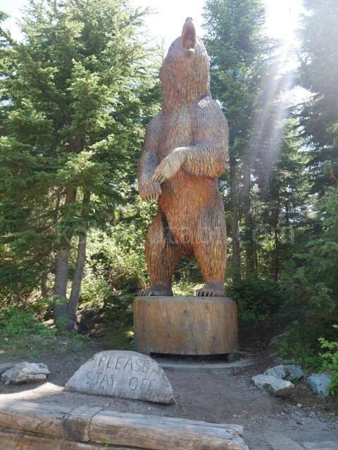 グラウスマウンテンの熊の彫刻