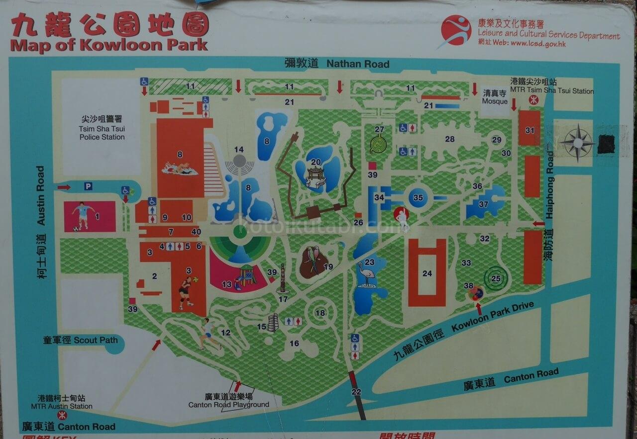九龍公園の園内マップ